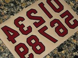 "ARIZONA ""Cardinal Red"" Football Helmet Numbers Decals #0-9 3"