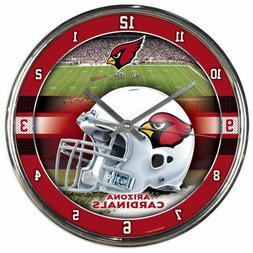 arizona cardinals 12in round chrome wall clock