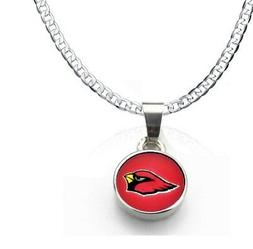 Arizona Cardinals 925 Silver Curb Link Chain Necklace And Pe