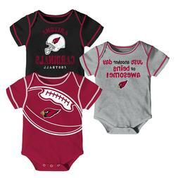 Arizona Cardinals Baby Boys' Awesome Football Fan 3pk Bodysu