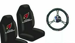 Arizona Cardinals Car Truck 2 Front Seat Covers & Steering W