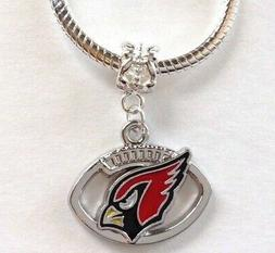 Arizona Cardinals Charm For Euro Charm Bracelet NFL Football