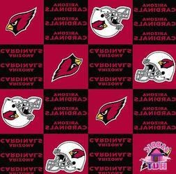 Arizona Cardinals Checkered NFL Football Fleece Fabric 6328