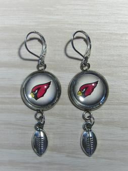 Arizona Cardinals Earrings w/Football Charm Upcycled from Fo