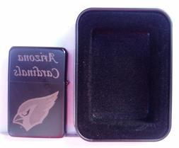 Arizona Cardinals Engraved Black Plated Brass Lighter w Blac