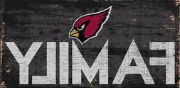 "Arizona Cardinals Family 12"" x 6"" Wood Sign  NFL Plaque Wall"