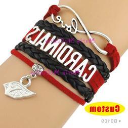 Arizona Cardinals Leather Bracelet Football Charm Quality Fa