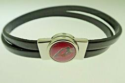 ARIZONA CARDINALS MAGNETIC CLOSE LEATHER BRACELET 7 INCHES