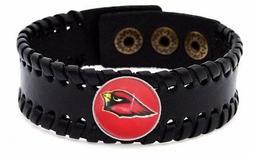Arizona Cardinals Mens Womens Black Leather Bracelet Bangle