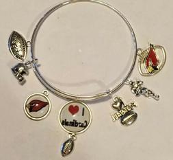 Arizona Cardinals NFL 7 Charm Logo Bracelet Jewelry Silver H