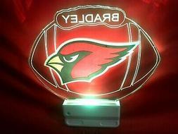 Arizona Cardinals NFL Night Light Personalized LED Plug In,