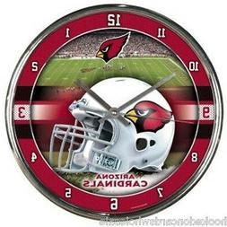 arizona cardinals nfl round chrome wall clock