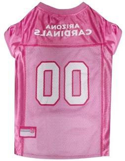 """Pets First Arizona Cardinals Pink Mesh Pet Jersey; Large 12"""""""