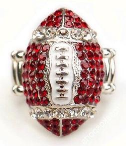 Arizona Cardinals Red Rhinestone Football Ring Women Girls N