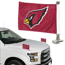 Arizona Cardinals Set of 2 Ambassador Style Car Flags - Trun