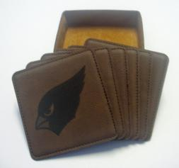 arizona cardinals set of six leather engraved