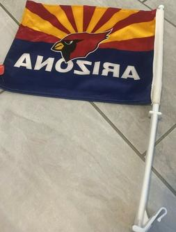 Arizona Cardinals TWO SIDED CAR FLAG * FREE SHIPPING *