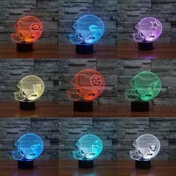 Football Helme 3D Acrylic LED 7 Colour Night Light Touch Tab