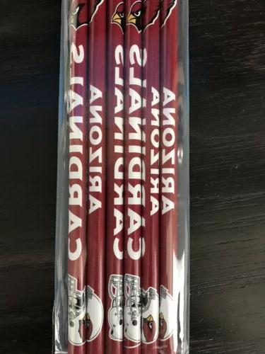 2 arizona cardinals pencils 6 pack