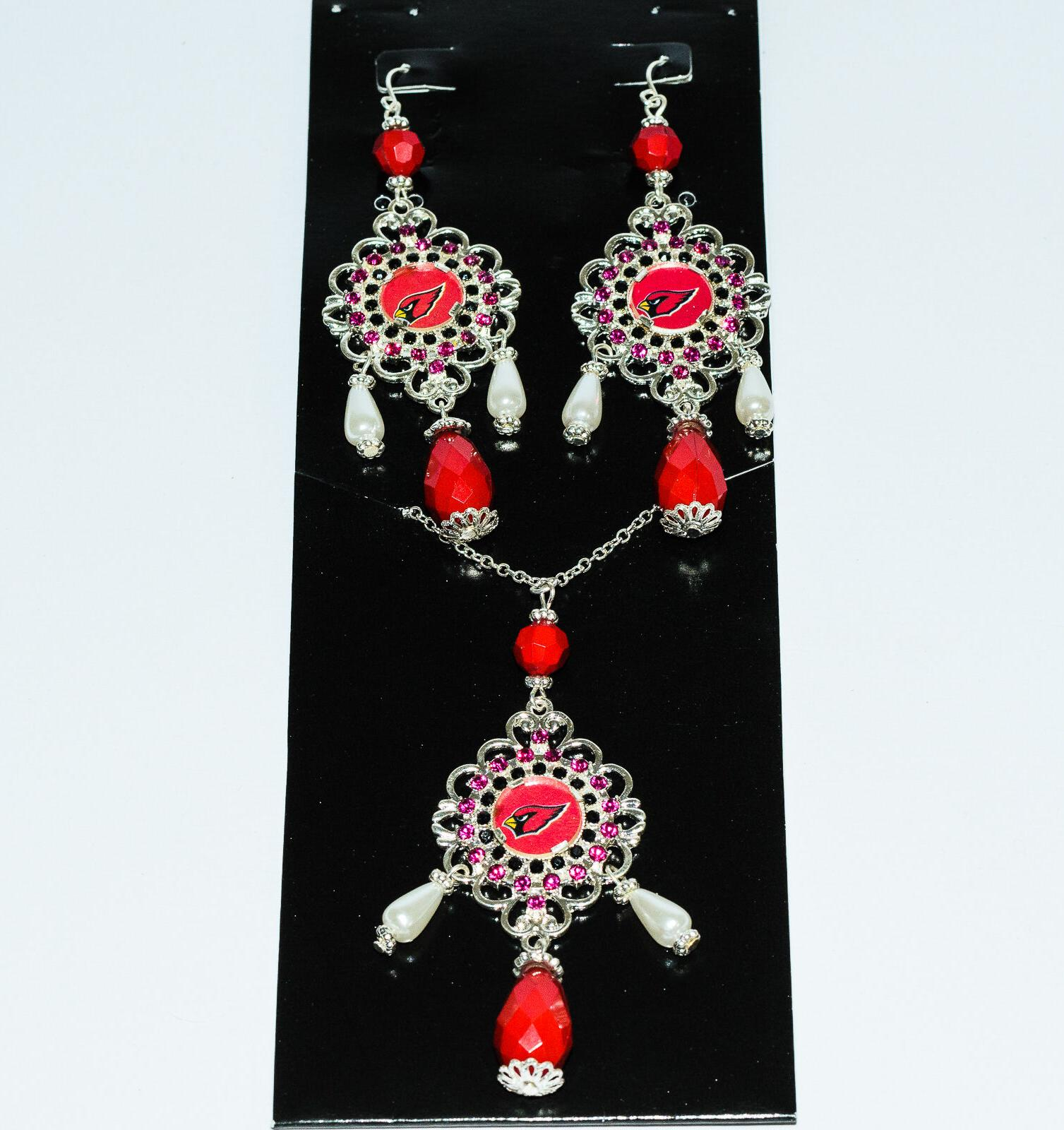 arizona cardinals baroque necklace and earrings set