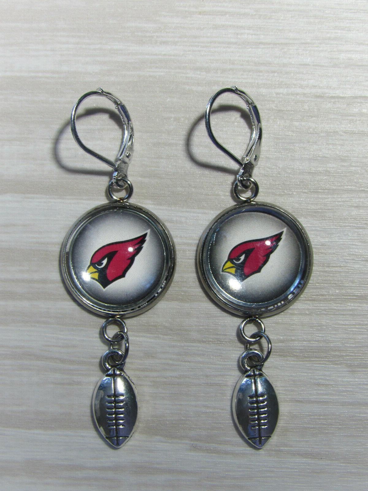 arizona cardinals earrings w football charm upcycled