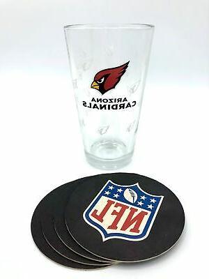 arizona cardinals nfl pint glass and coaster