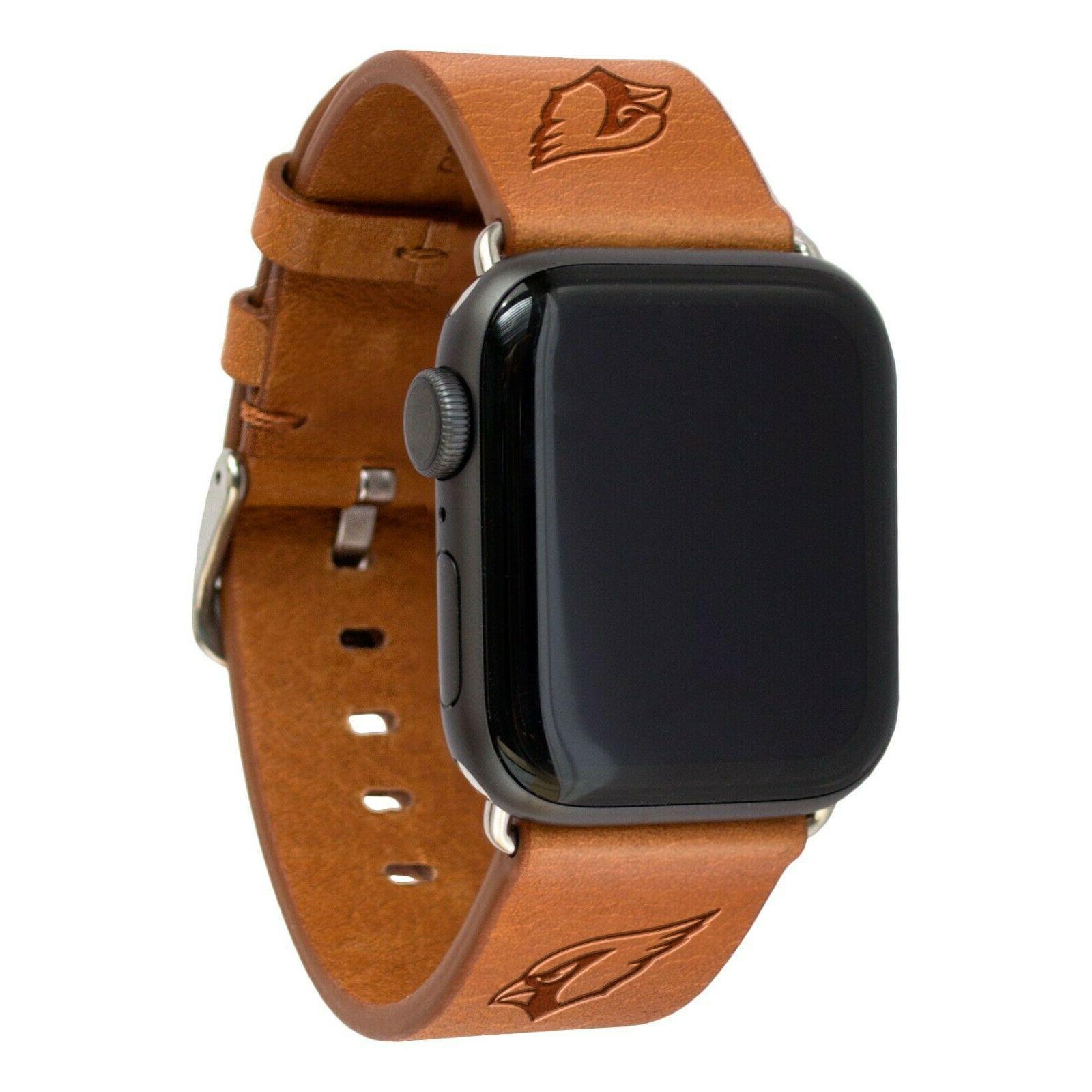 arizona cardinals premium leather apple watch band