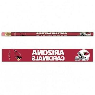 arizona cardinals wooden pencil 6 pack new