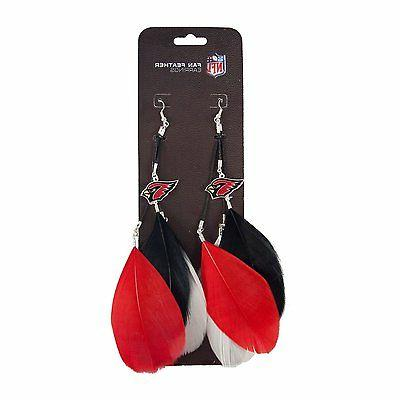 new arizona cardinals feather hook earrings w