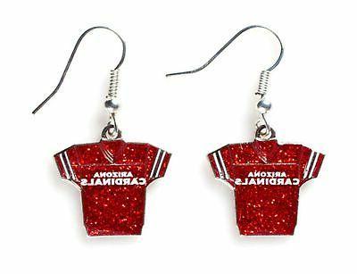 nfl glitter jersey earrings arizona cardinals
