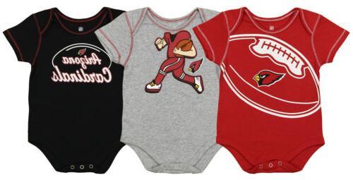 nfl infant arizona cardinals 3 pack creeper