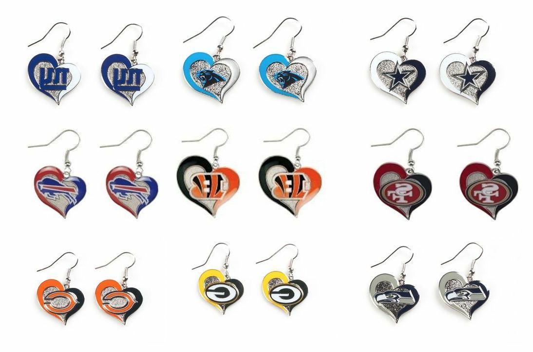 nfl swirl heart team dangle earrings pick