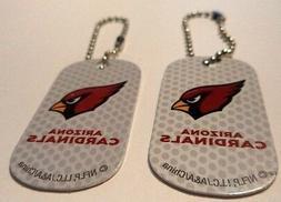 Lot of 2 Arizona Cardinals  Logo Dog Tags Key chains backpac