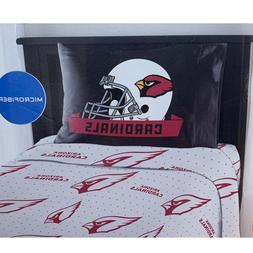 NEW NFL Arizona Cardinals 3 PC Bed Twin Sheet Set with One P