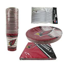 New NFL Arizona Cardinals 80pc Paper Plates Cups Forks Napki