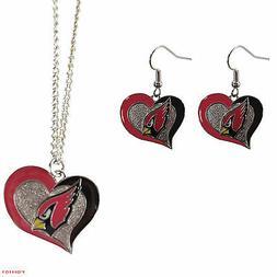 New NFL Arizona Cardinals Swirl Heart Necklace & Earring 3pc
