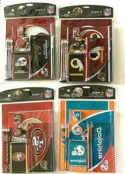 NFL 11 Piece Stationary Set Note Pads Pencils Eraser Folder