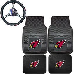 NFL Arizona Cardinals Car Truck Rubber Floor Mats & Steering