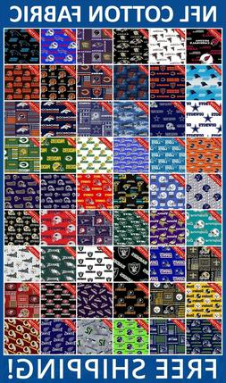 """NFL Sport All Teams Collection Cotton Fabric - 60"""" Wide - Fr"""