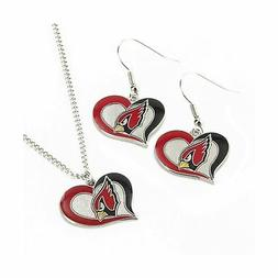 NFL Swirl Heart Earrings & Pendant Set Arizona Cardinals