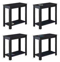 End Table Night Stand Black Wood NFL Team Decal Man Cave on