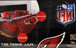 Arizona Cardinals Sheet Set NFL Full Bed Fitted Flat Sheets