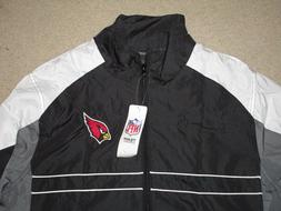 SI ARIZONA CARDINALS MEN'S WIND JACKET BLACK GRAY LARGE NWT